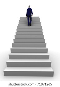 A 3d businessman walking upstairs the success staircase.