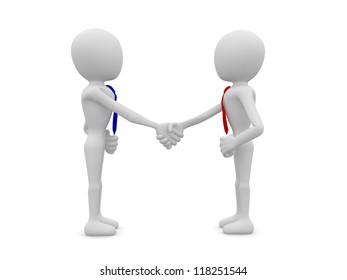 3d businessmen shaking hands on white background