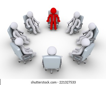 3d businessmen are sitting in a circle but one is different