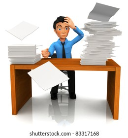 3D busy business man with a pile of work on his desk - isolated