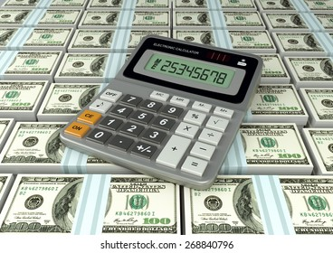 3D Calculator on America money currency banknote