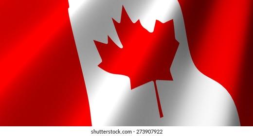 3D. Canadian Flag, Flag, Canada.