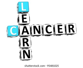 3D Cancer Learn Crossword over white background