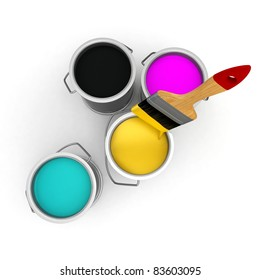 3d cans with cmyk ink paint on white background
