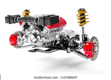 3d car chassis with motor and suspension, on white background