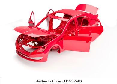 3d car frame body on white background