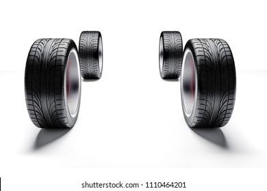 3d car tires and alloy wheels