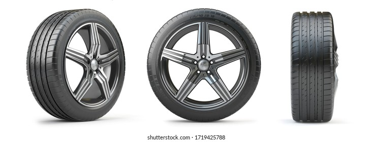 3d. Car wheel on alloy disc with tyre isolated on white. Different points of view.