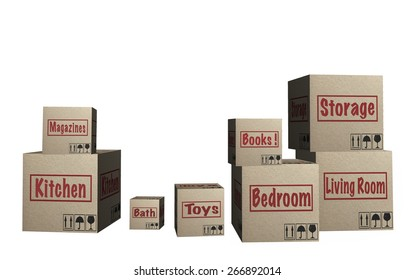 3D Cardboard boxes with moving theme