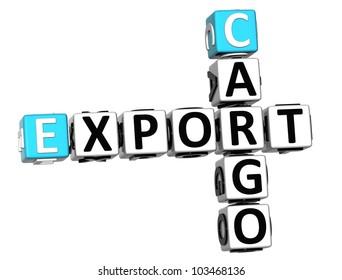 3D Cargo Export Crossword on white background