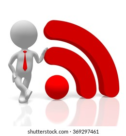 3D cartoon character and wi-fi (wireless) network symbol - great for topics like Internet, connection etc.