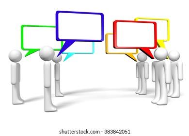 3D cartoon characters and speech bubbles - great for topics like communication, dialog, talking, social networking, conversation, chat etc.
