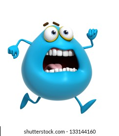 3d cartoon cute blue monster run