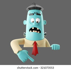 3D cartoon funny monster man, illustrated frankenstein, halloween icon, isolated, no background
