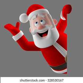 3d cartoon merry santa claus peeping, coming out from behind a blank banner, 3D render funny cartoon characte, happy christmas icon