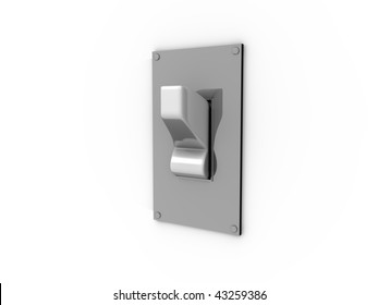 3D cartoon of a white light switch on a metal plate