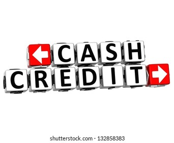 3D Cash Credit Button Click Here Block Text over white background