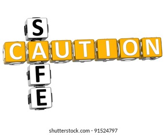3D Caution Safe Crossword on white background
