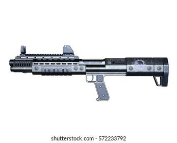 3D CG rendering of an assault rifle