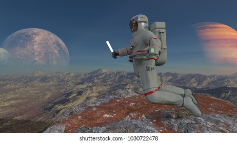 3D CG rendering of an astronaut