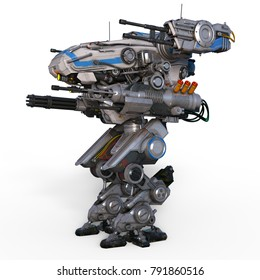 3D CG rendering of a battle robot
