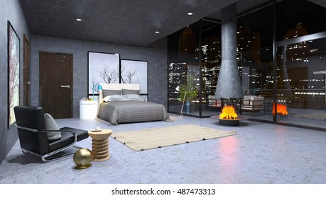3D CG rendering of a bedroom