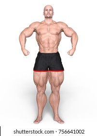 3D CG rendering of a body builder