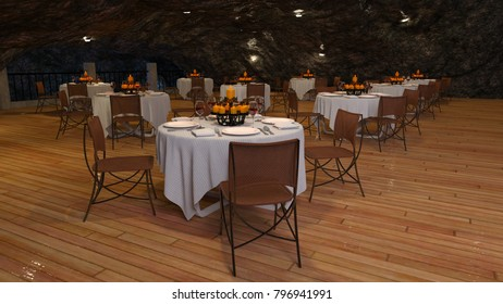 3D CG rendering of the cave restaurant