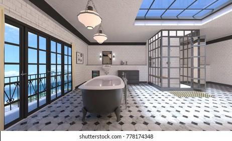 3D CG rendering of the fancy bathroom