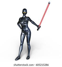 3D CG rendering of a female cyborg