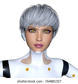3D CG rendering of a female cyborg