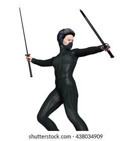 3D CG rendering of a female ninja