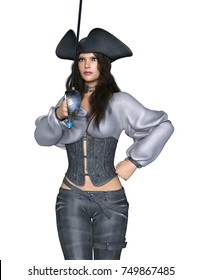 3D CG rendering of a female pirates