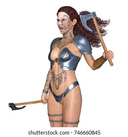 3D CG rendering of a female warrior