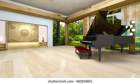 3D CG rendering of a grand piano