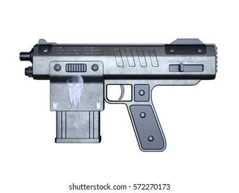 3D CG rendering of a hand gun