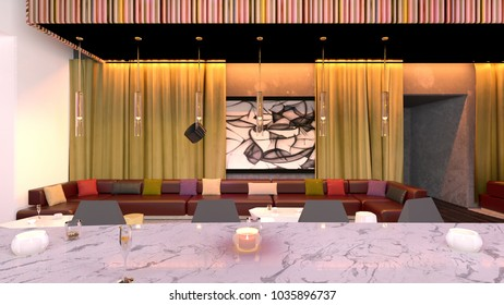 3D CG rendering of the lounge