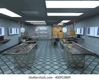 3D CG rendering of morgue