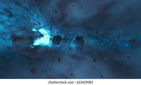 3D CG rendering of the outer space