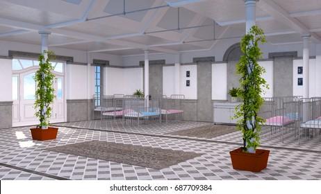 3D CG rendering of the pediatric ward
