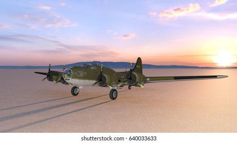 3D CG rendering of the propeller fighter