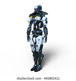 3D CG rendering of a robot police