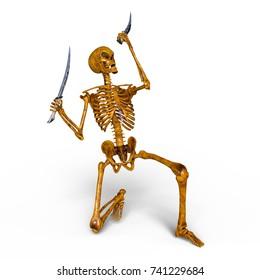 3D CG rendering of a skeleton fencer