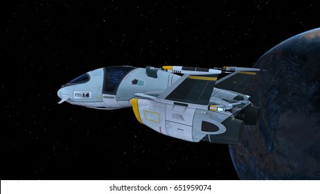 3D CG rendering of a space ship. Elements of this Image Furnished By NASA