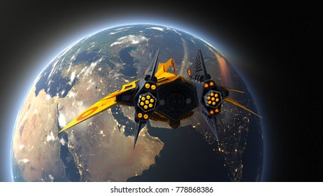 3D CG rendering of a space ship and the earth. Elements of this Image Furnished By NASA.