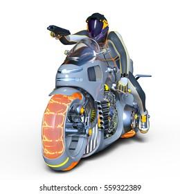 3D CG rendering of a super hero rider