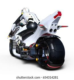 3D CG rendering of a super woman rider