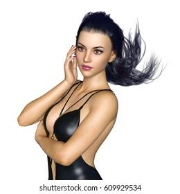 3D CG rendering of a swim wear woman