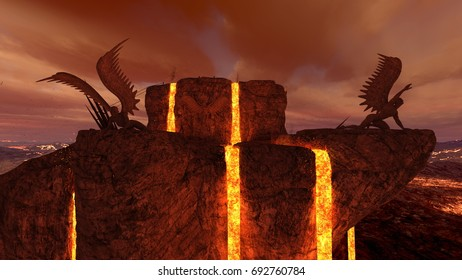 3D CG rendering of the volcano fort