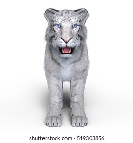 3D CG rendering of a white tiger